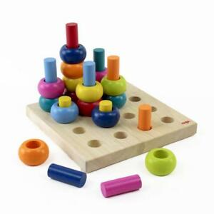 Palette Of Pegs 32 Colorful Wooden Pieces Motor Skills Toy
