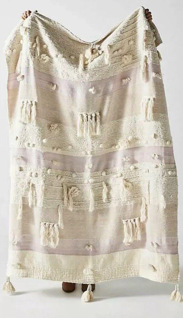 Anthropologie Winter Sunset Throw Blanket Metallic   148 Lilac Multi Boho Tassel
