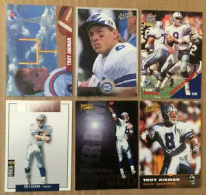 Troy-Aikman-LOT-of-6-insert-base-cards-NM-1991-1996-HOF-QB-Dallas-Cowboys-U64