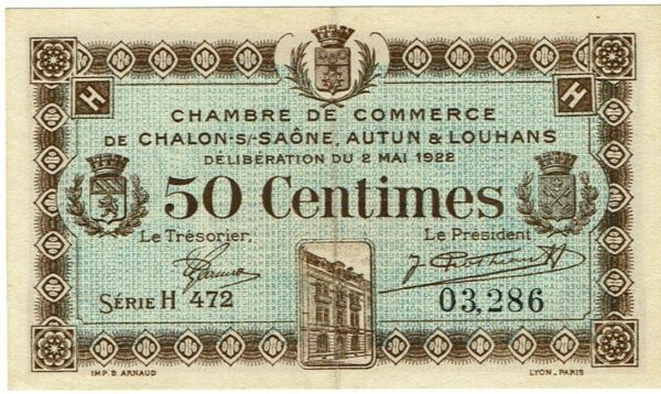 Billet Chambre De Commerce De Chalon-sur-saône (voir Description) Avec Une RéPutation De Longue Date