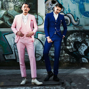 New Stock Fashion Pink/Blue Men Suits Formal Party Suits Groom Tuxedos S-2XL