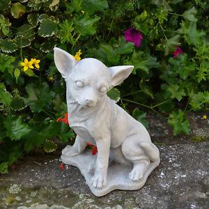 massif sculpture en pierre Chihuahua Chien Décoration de jardin d ...