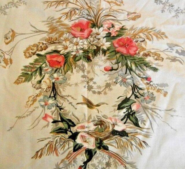 Very Rare Exquisite Ralph Lauren Windermere Full Flat Sheet Birds Florals Nests