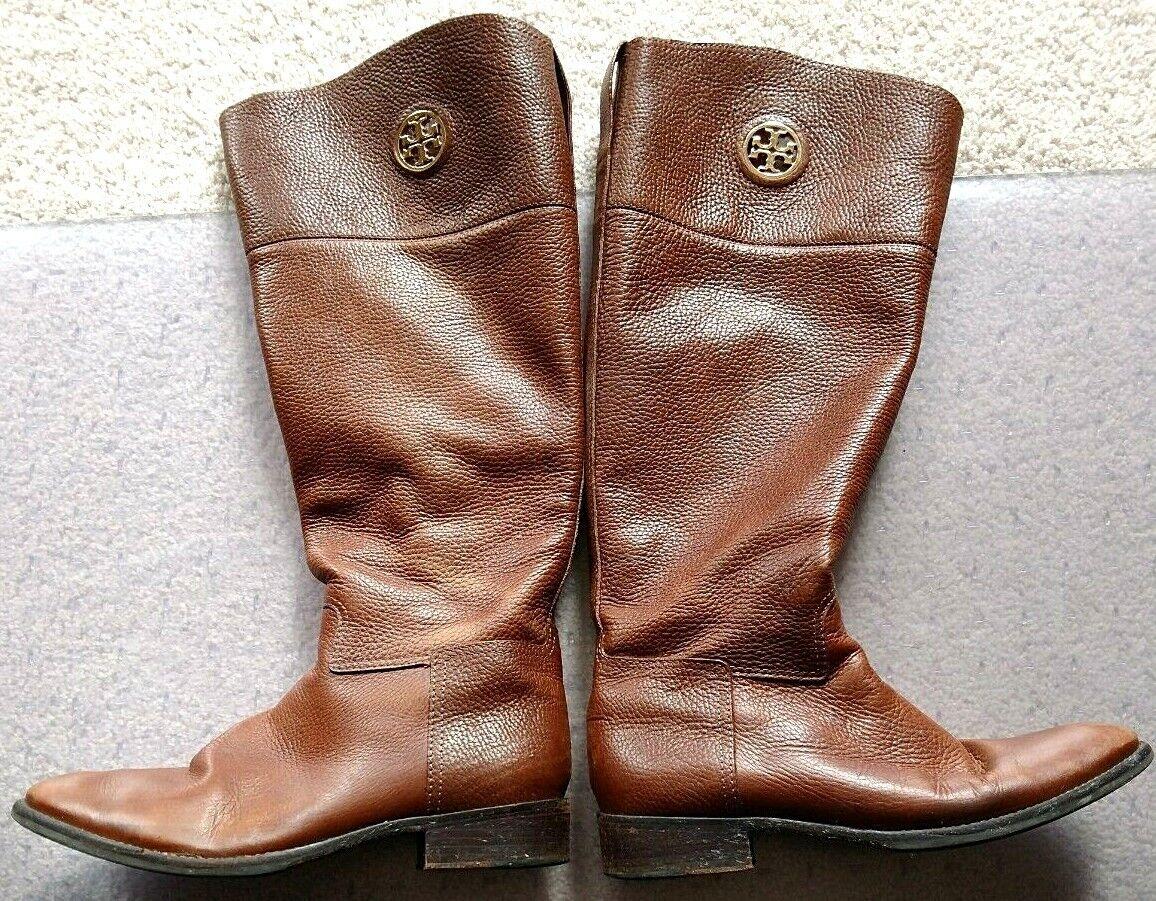 presa AUTHENTIC Tory Burch Ashlynn Riding Riding Riding stivali Almond Marrone Leather Dimensione 9M Leather b  negozio online