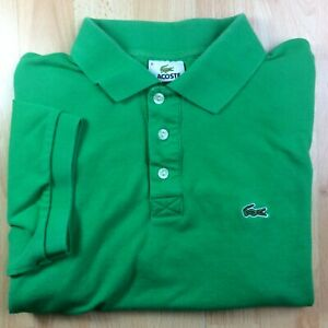 Lacoste-extra-large-XL-6-vert-solide-a-manches-courtes-Polo-Shirt-Logo-Genuine