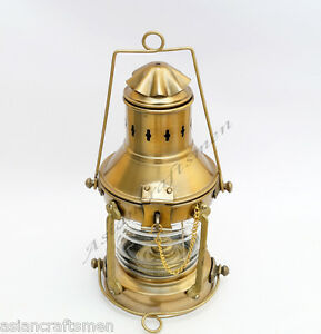 VINTAGE BRASS SHIP KEROSINE OIL LANTERN - OLD RAIL ROAD ANCHOR LAMP