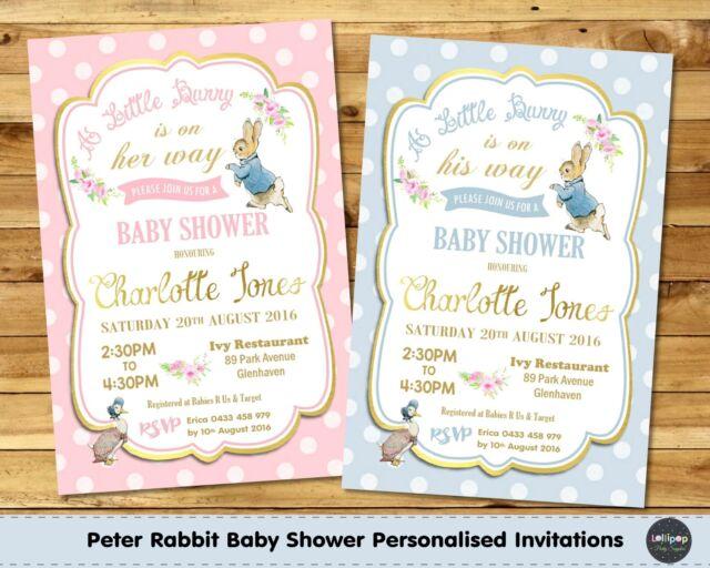 Peter rabbit baby shower personalised invitation invite card gold peter rabbit baby shower personalised invitation invite card gold boy girl stopboris Gallery