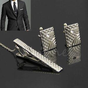 Classic-Men-Simple-Gift-Necktie-Metal-Tie-Bar-Clasp-Clip-Cufflinks-Set-Silver