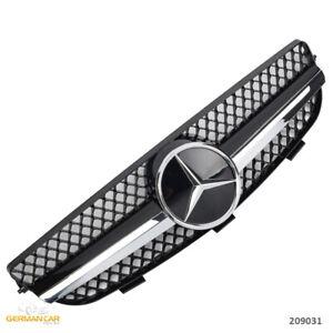 Grill-Sport-Kuehlergrill-fuer-Mercedes-W209-CLK-Schwarz-Chrom-AMG-OPTIK
