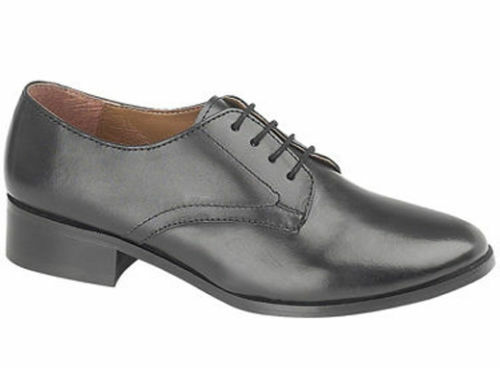 Womans Girls Black Leather Parade Shoes British Army / RAF / Cadet All Size