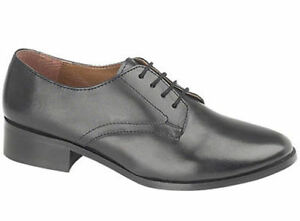 38db3d5b4410e Details about Womans Girls Black Leather Parade Shoes British Army / RAF /  Cadet All Size
