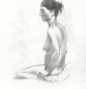 Contemporary Graphite Drawing - Seated Female Nude