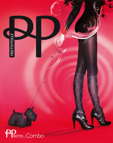 New Pretty Polly Tights COMBO Pantyhose One size regular Black Argyle Mock
