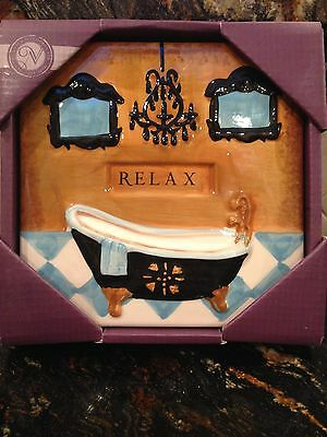Wall Art Ceramic TILE  Bath tub RELAX hang on  BATHROOM PLAQUE Home decor new