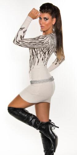 Minikleid Strickkleid Longpullover V-Ausschn.Stiefelkleid Longpulli Nieten zebra