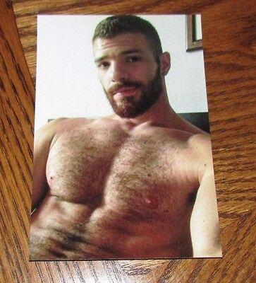 Shirtless Male Muscular Beefcake Beard Hairy Chest Abs