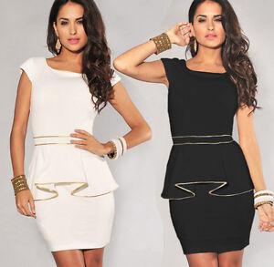 Ladies-Evening-Dress-Party-Office-Dress-Club-Wear-Mini-Midi-Peplum-Dress