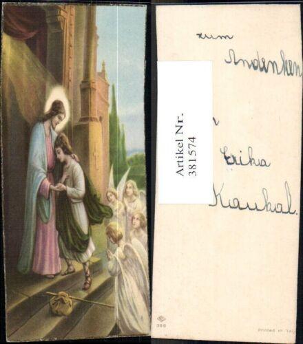 381574,Andachtsbilder Heiligenbildchen Jesus m. Jünger Engel Heiligenschein