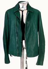 Emporio Armani Perforated Leather Biker Jacket Green EU56 XL / XXL RRP£1290 coat