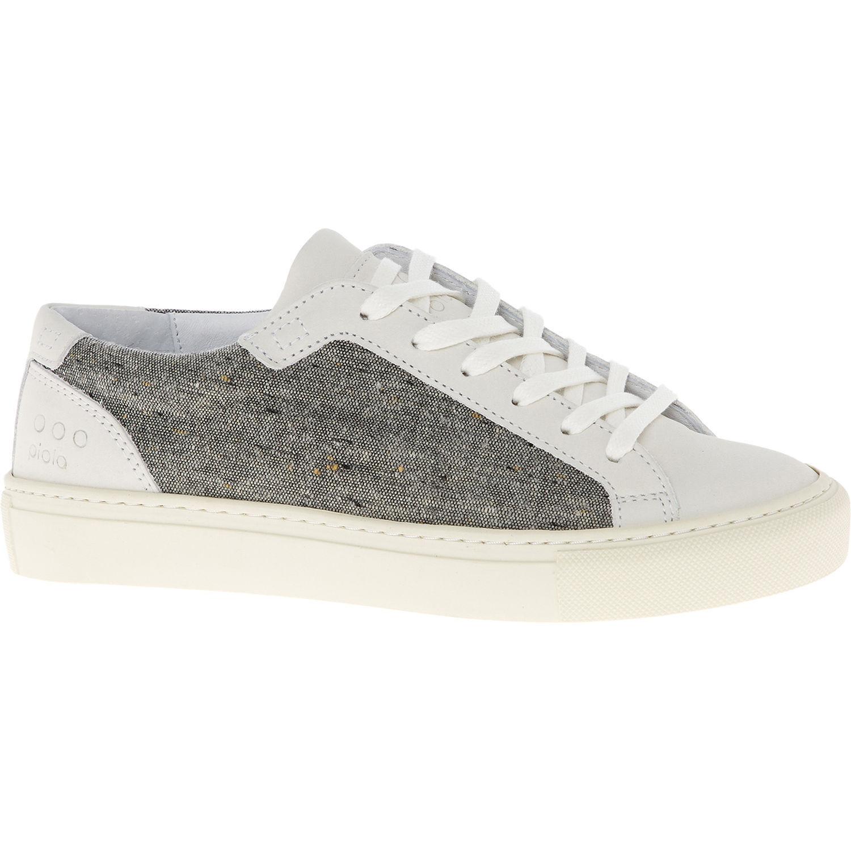 NEU PIOLA Ica Lady Damenschuhe WEISS Leder & Grau Wool Trainers Schuhes Sneakers UK 4