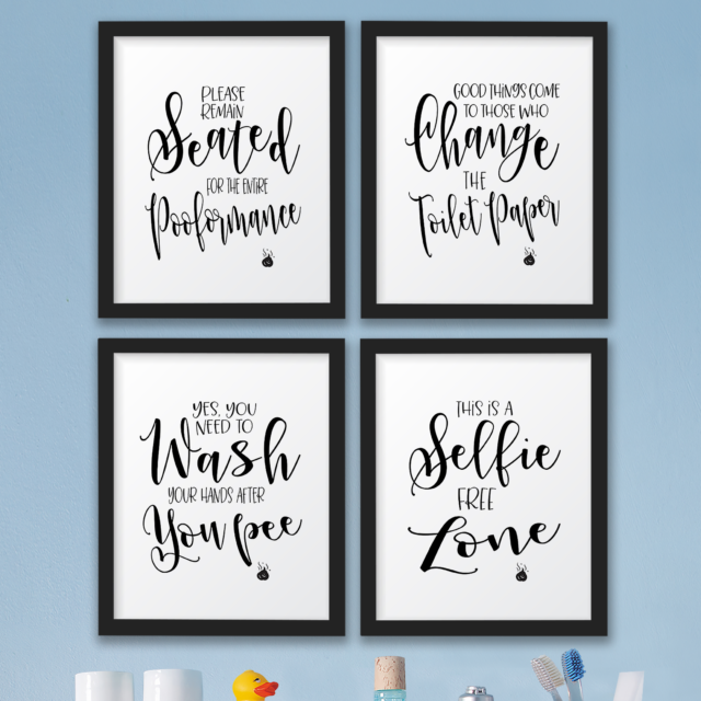 The John Funny Bathroom Wall Decor Signsquotes Set Art Prints Impressive Wall Art Quotes