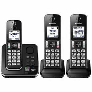 Panasonic-KX-TG163K-Cordless-3-Handset-Landline-Telephone-w-Answering-Machine