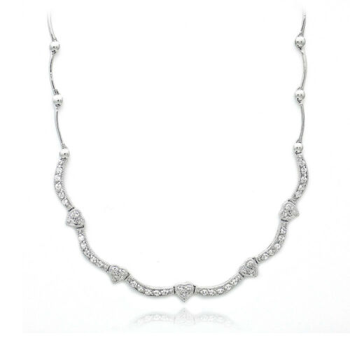 "925 Silver CZ Heart Wave Necklace 17/"""