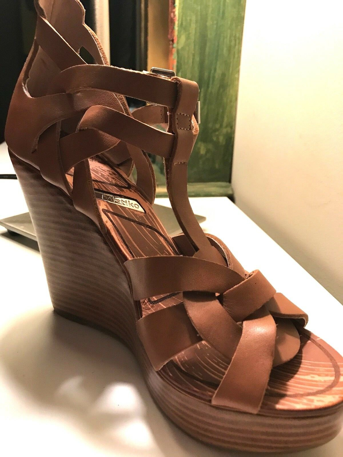 MATIKO Womens 7M Brown Leather Wedge Platform Zip Gladiator Sandals shoes 6 6.5