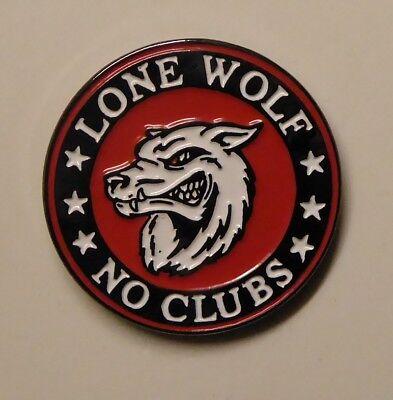 Biker No Club High quality enamel badge Secure back pin Lone Wolf pin badge