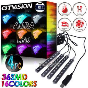 4X RGB 16 Color Interior Bar Glow Dash Footwell Light 36 LED Strip Lamp USB Port