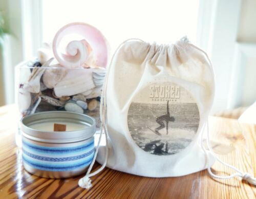STOKED CANDLE SEA SALT /& ORCHID ~ handmade 8oz soy candle tin eco wooden wick