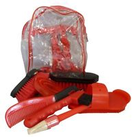 Horse Tack Brushes Grooming Kit Set Barn Supply Red
