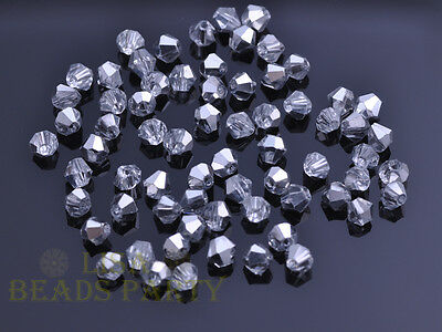100pcs 4mm Bicone Faceted Crystal Glass Loose Spacer Beads Colorized DIY Jewelry