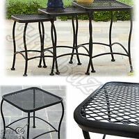 Nesting Side Tables Set Of 3 Wrought Iron Outdoor Patio Garden Furniture Black