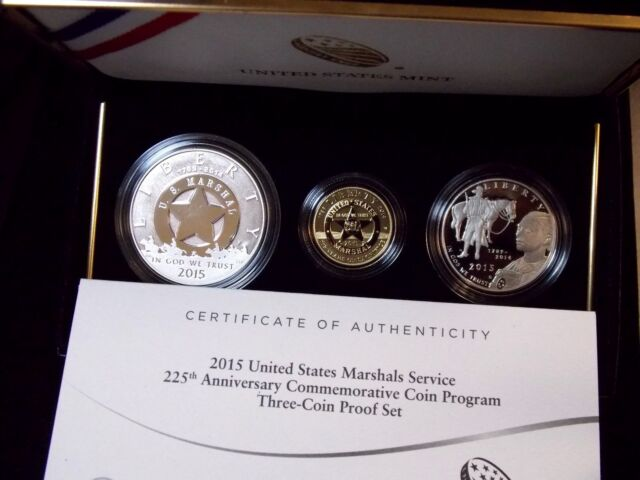 2015 US Marshal Service 225th Anniv Commemorative Proof 3 Coin Set w//COA/&Box 1