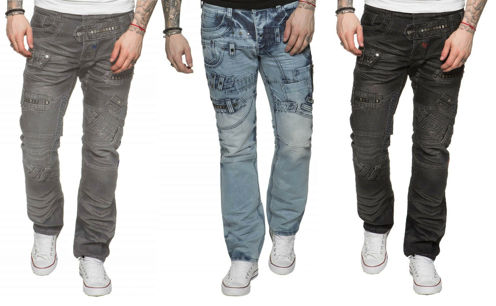 New ETO Jeans For Men Funky Style Biker Denim Pants in All Waist Größes 28 - 42  | Helle Farben
