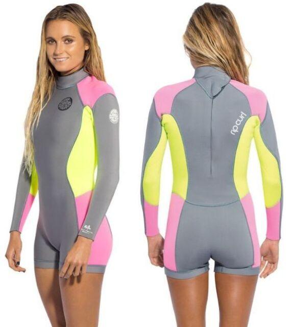 Rip Curl Dawn Patrol Women s 2mm LS Springsuit Grey Pink Yellow 4-12 spring  suit 0f3315258