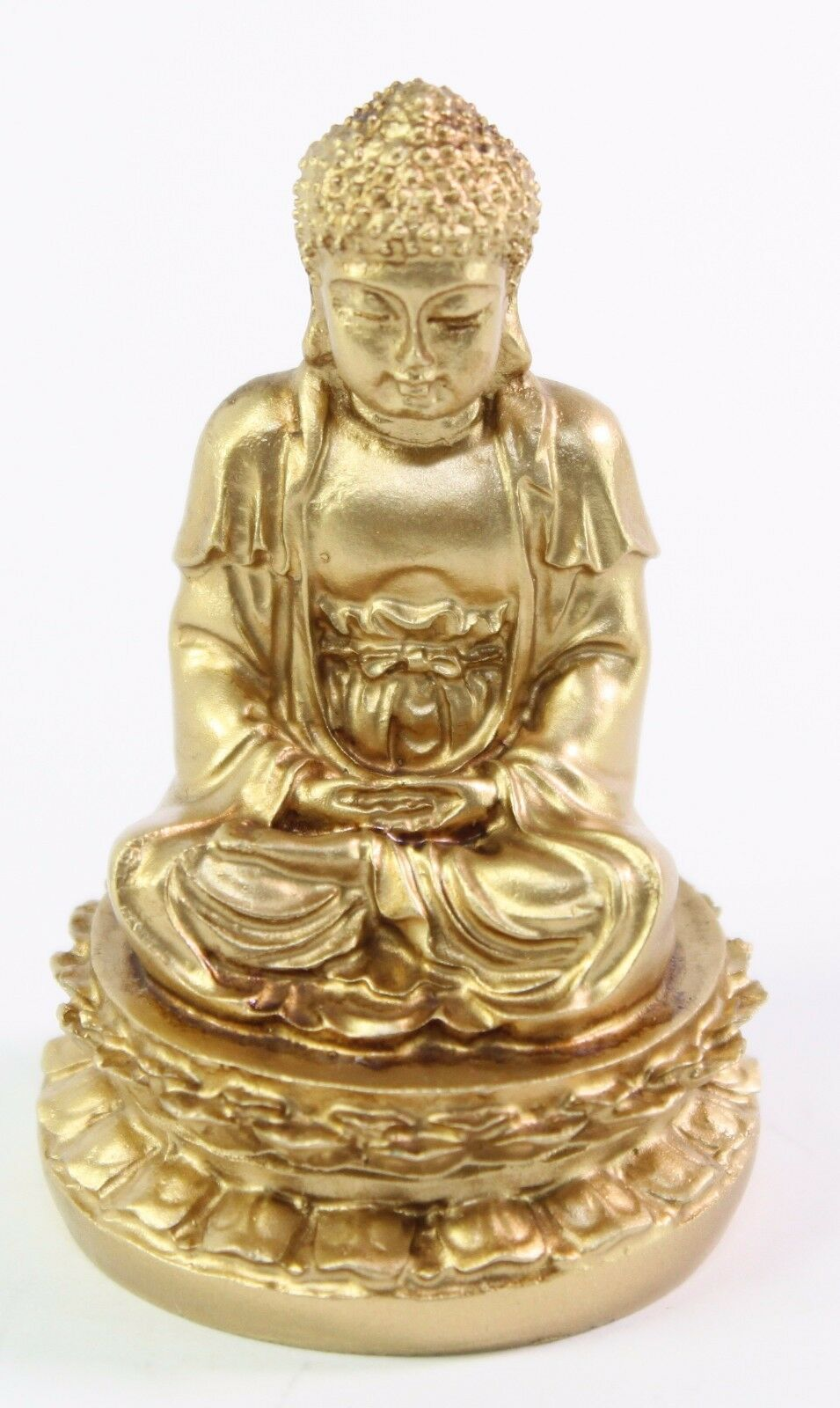 feng shui 2 034 gold meditating buddha figurine peace luck statue paperweight gift ebay. Black Bedroom Furniture Sets. Home Design Ideas