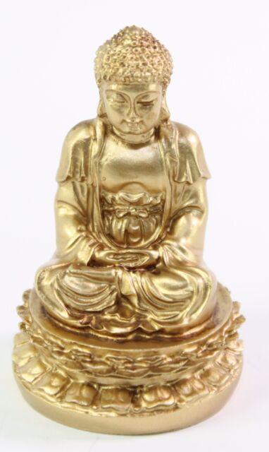 "Feng Shui 2"" Gold Meditating Buddha Figurine Peace Luck Statue Paperweight Gift"