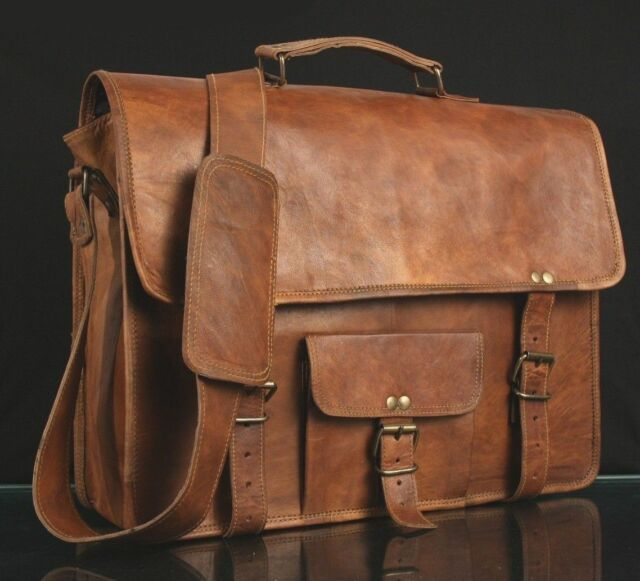 f8e4fddb21ad Men s Real Goat Laptop Briefcase Leather Vintage Brown Bag Messenger  Shoulder