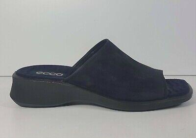Ecco Womens Suede Sandals Slides US Sz 9 EU Sz 40 Mules Cushy Comfort Navy Blue | eBay