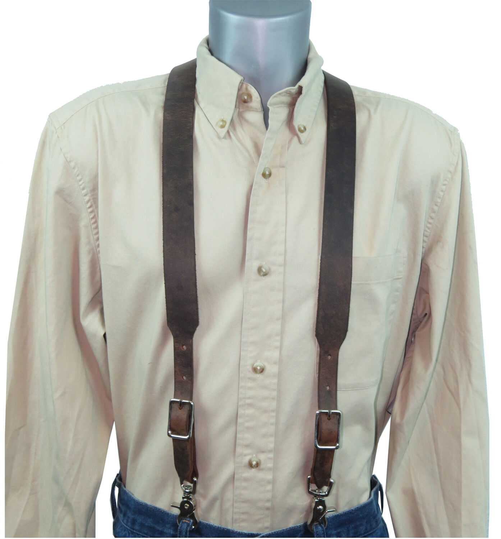 Distressed Dark Brown Leather Suspenders scissor snaps