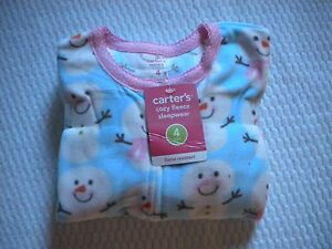 c32896e41cfd NEW CARTER S GIRLS SIZE 4 FLEECE FOOTED FEETY PAJAMAS Blue with ...