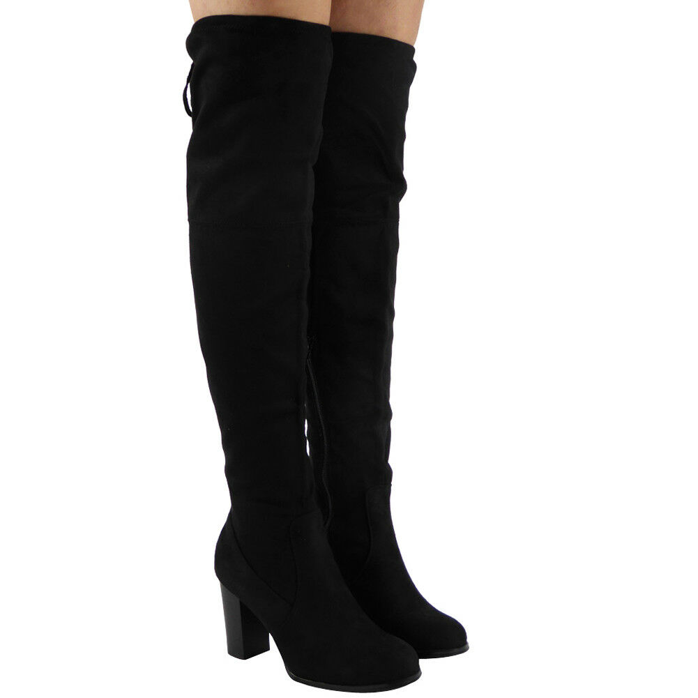 Womens Boots Thigh High Over The Knee Tie Up Block Heel New Ladies Winter Size