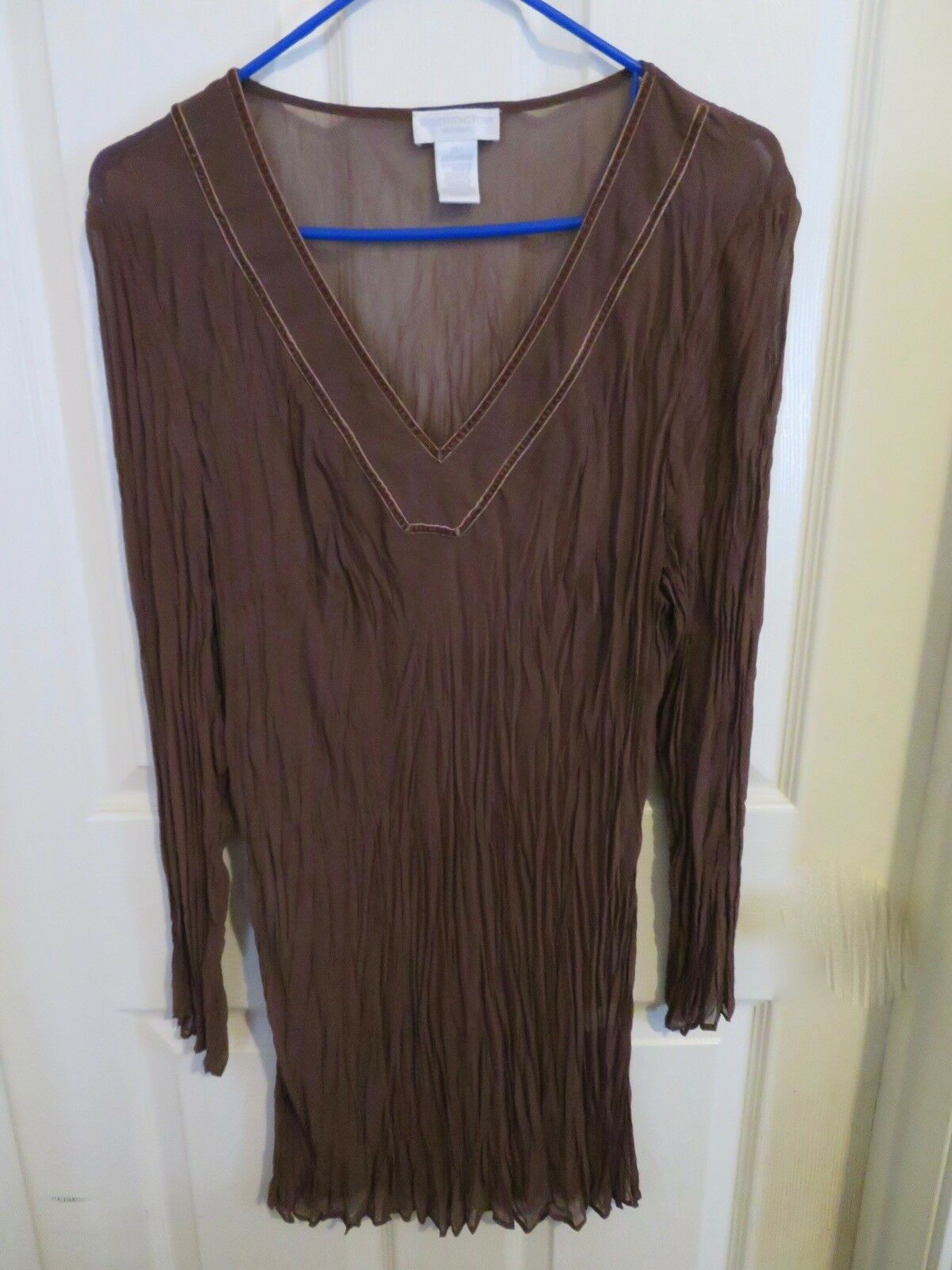7073c753e37 Women s Worthington Sheer Brown Long Blouse Shirt Plus Size 2X Crinkle  Sleeve nrisow31530-Tops   Shirts