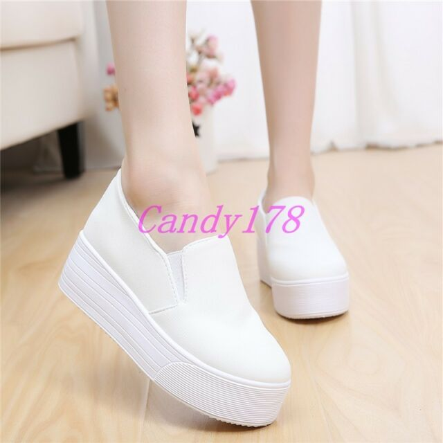 Womens Student Sneakers Round Toe Slip On Creepers Platform Wedge Mid Heel Shoes