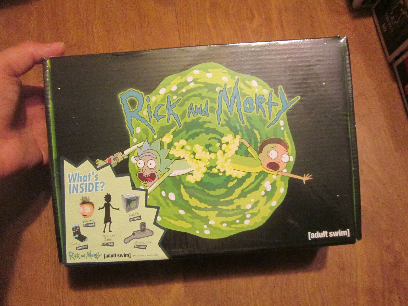 CultureFly Rick and Morty Collectible Box Puzzle Planter Socks Portal Gun Pin