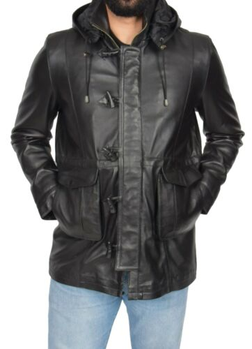 Mens Duffle Coat Black Leather Removable Hood Zipped Classic Horn Toggles Jacket