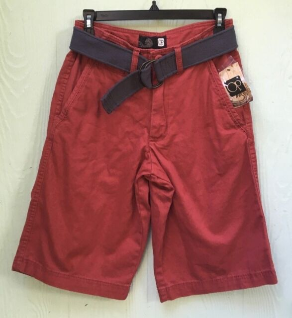 18db24ffa6 NWT Men's OP Ocean Pacific Belted flat front shorts size 28 burgundy/red rum