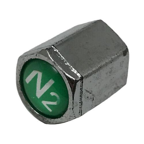 Chromed Plastic Standard TPMS Tire Valve Stem Cap W// Green Nitrogen N2 Tip 100